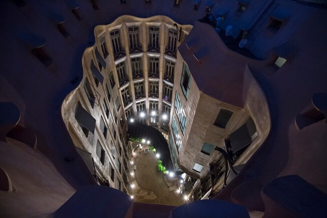 visit nigh origins pedrera courtyards