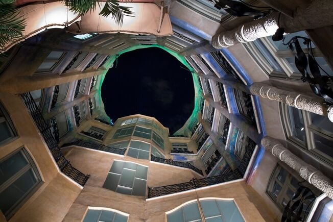 visit pedrera night courtyards