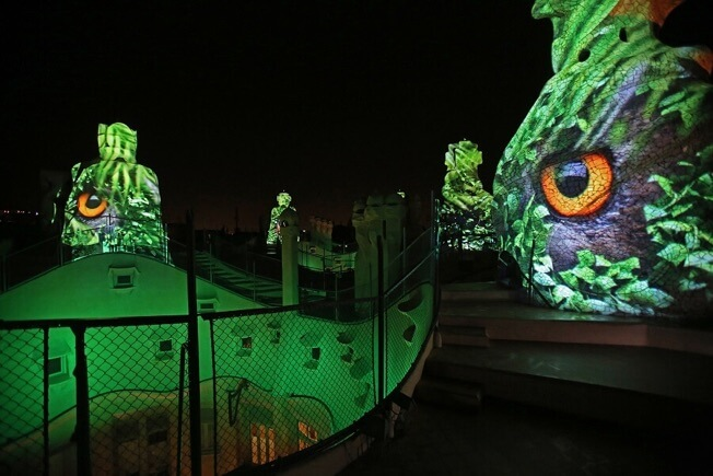 visit pedrera night origins roof projections